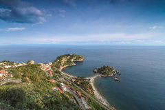 Top view of Isola Bella. One of the Sicily coast's most scenic island Stock Photo