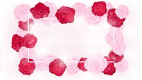 Top view isolate valentine floral invitation rounding by pink and red roses. Artwork has some copy space in middle as white background , all elements are fill Stock Image