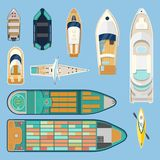 Top view on isolated boats or ships. Set of isolated boats top view. Sea or ocean transport. Water vehicle or vessel for travel or tourism. Container Stock Photos