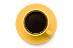 Top view of an isolated cup of coffee Royalty Free Stock Image