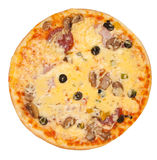 Top view of isolated pizza Royalty Free Stock Photo