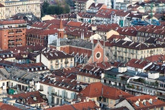 Top view of Italian church and buildings architecture Stock Image