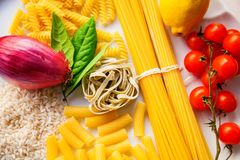 Top view italian food ingredients royalty free stock photography