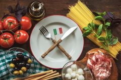 Top view italian ingredients Royalty Free Stock Images