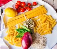 Top view italian food ingredients stock images