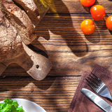 Top view of italian food on wooden table Royalty Free Stock Images