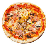 Top view of italian pizza with mushrooms and ham Stock Photo