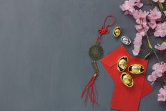 Top view of items for Chinese Happy New Year concept background. Stock Image