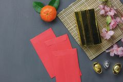Top view of items for Chinese Happy New Year concept background. Royalty Free Stock Photo