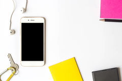 Top view of items smartphone and sticky note. Top view of items smartphone and sticky notes Royalty Free Stock Photo