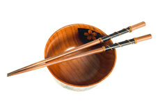 Top view of Japanese Chopsticks and a bowl Royalty Free Stock Photography