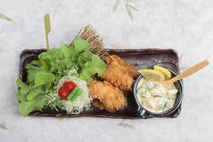 Top view of Japanese tempura mussel is deep fried mussel mixing with flour served with egg salad. Top view of Japanese tempura mussel is deep fried mussel Stock Photography