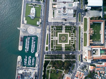 Top View of The Jeronimos Monastery and Monument to the Discoveries, Lisbon, Portugal Stock Photos