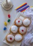 Jewish holiday Hanukkah symbols against white background royalty free stock photos