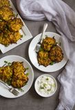 Potato latkes. pancake in white serving plates with sour cream dressing at the side against grey background stock image