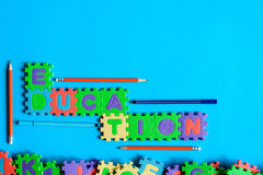 Top view jigsaw with toys and children learn Stock Images