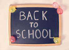 Top view joking concept of education with text back to school is Stock Images