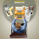 Top View Journalist At Workplace. Male journalist at his workplace top view realistic vector illustration Stock Photo