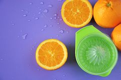 Top view of Juicer with Fresh Navel Orange Stock Photo