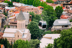 Top View Of Jvaris Mama Ancient Christian Church, Moving Cableway Stock Photos