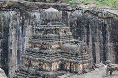 The top view of Kailsa temple, Ancient Hindu stone carved temple, Cave No 16, Ellora, India stock photo