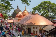 Top view of the Kamakhya Mandir temple in Guwahati, Assam state, North East India. Guwahati, India - May 7, 2017: Top view of the Kamakhya Mandir temple in stock photography