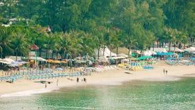Top view of Kamala Beach in the tourist season. Thailand, Phuket. Video 1920x1080 - Top view of Kamala Beach in the tourist season. Thailand, Phuket stock video