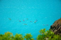 Top view of kayak boat oin shallow turquoise water Stock Image