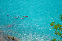 Top view of kayak boat oin shallow turquoise water Royalty Free Stock Photo