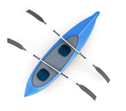 Top view of the kayak isolated on white background. 3d rendering Royalty Free Stock Photo
