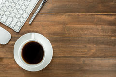 Top view of keyboard, mouse, coffee Stock Image