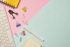 Top view keyboard,notebook,pen,paperclip or object for office su Stock Photography