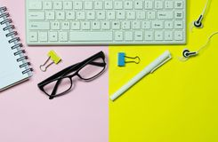 Top view keyboard,notebook,pen,paperclip or object for office su Royalty Free Stock Photos