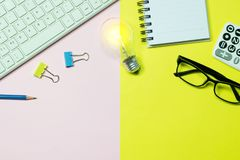 Top view keyboard,notebook,pen,paperclip or object for office su Royalty Free Stock Photo