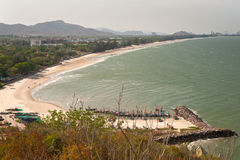 Top view of Khao Tao beach,Thailand. Royalty Free Stock Images