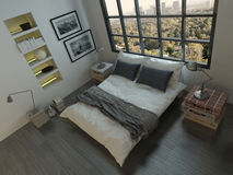 Top view of king-size bed Stock Photos