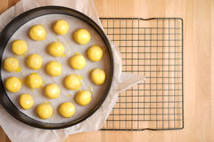 Top view of a kitchen with baking equipment Royalty Free Stock Photography