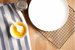Top view of a kitchen with baking equipment Royalty Free Stock Photos