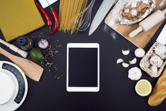 Top view kitchen mockup Stock Photo