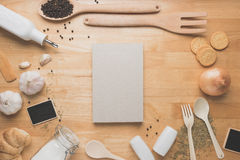 Top view kitchen mockup,Rural kitchen utensils on wooden table Stock Image