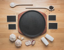 Top view kitchen mockup,Rural kitchen utensils on wooden table Stock Photo
