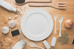 Top view kitchen mockup,Rural kitchen utensils on wooden table Royalty Free Stock Photo