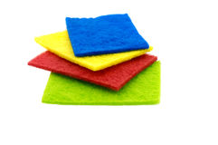 Top view of kitchen scourer pads isolated. On white Stock Photos