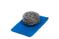 Top view of kitchen scourer pads. Isolated on white Stock Photos