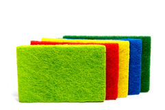 Top view of kitchen scourer pads isolated. On white Royalty Free Stock Photography