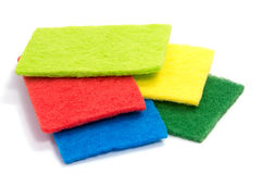 Top view of kitchen scourer pads isolated. On white Royalty Free Stock Images