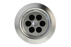 Top view of kitchen sink drain, round plug hole. 3D rendering Royalty Free Stock Image