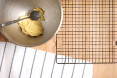 Top view of a kitchen table with baking utensils Stock Photos