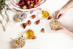 Healthy breakfast with fruit flatlay stock image