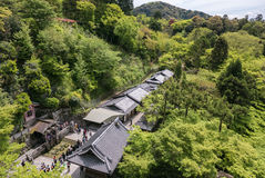 Top view from Kiyomizu-dera Temple. Top view from Kiyomizu-dera Temple, looking over the trails of halls in the temple complex. Kyoto, Japan Royalty Free Stock Image